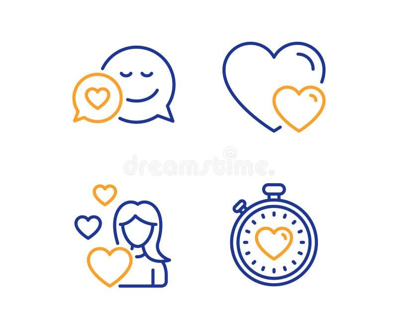Χρονολόγηση, αγάπη και εικονίδια καρδιών καθορισμένα Σημάδι χρονομέτρων κτύπου της καρδιάς Αγγελιοφόρος αγάπης, ρομαντικές σχέσει ελεύθερη απεικόνιση δικαιώματος