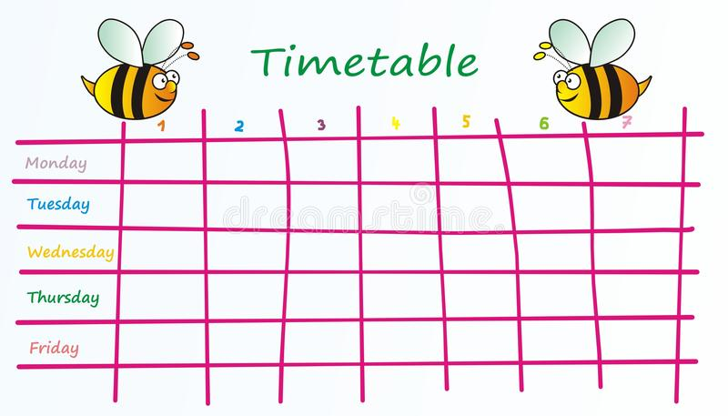 Χρονοδιάγραμμα-μέλισσες διανυσματική απεικόνιση