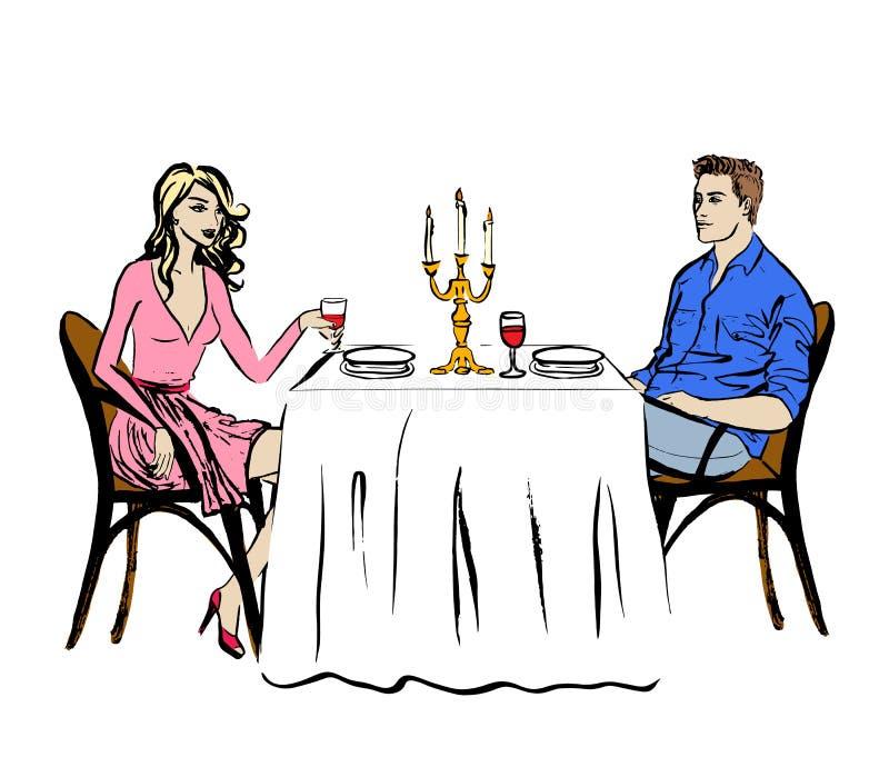 Χρονολόγηση στο εστιατόριο διανυσματική απεικόνιση