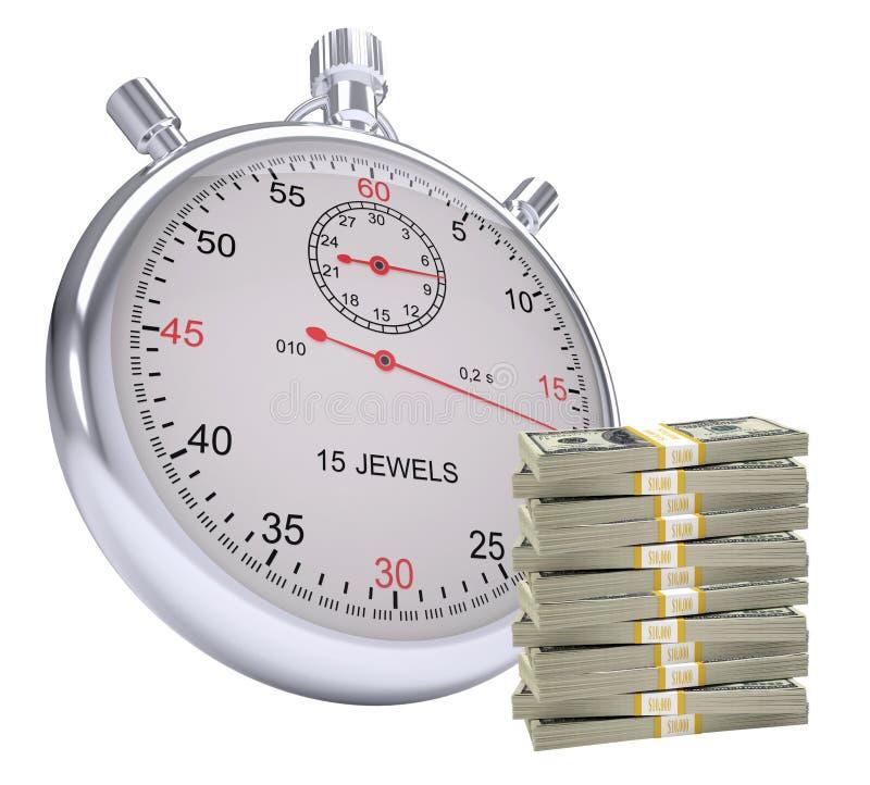 Χρονόμετρο με το σωρό των χρημάτων διανυσματική απεικόνιση