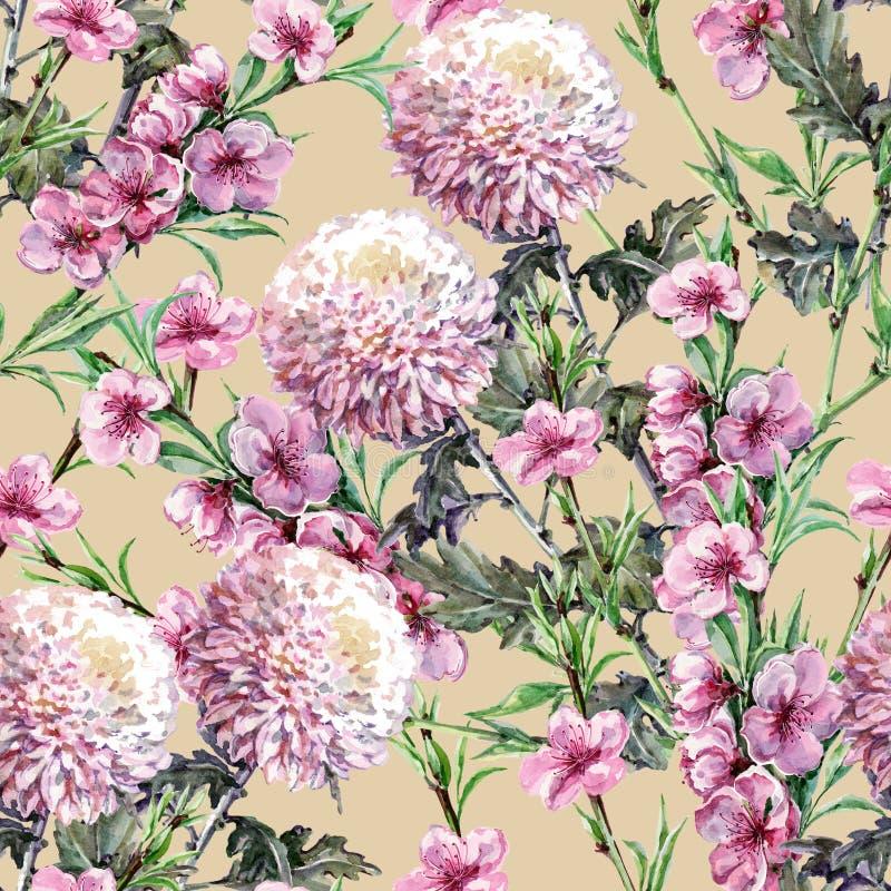 Χρυσάνθεμο ανθοδεσμών με τα λουλούδια ροδάκινων Watercolor Floral άνευ ραφής σχέδιο σε ένα υπόβαθρο ρίζας πιπεροριζών ελεύθερη απεικόνιση δικαιώματος
