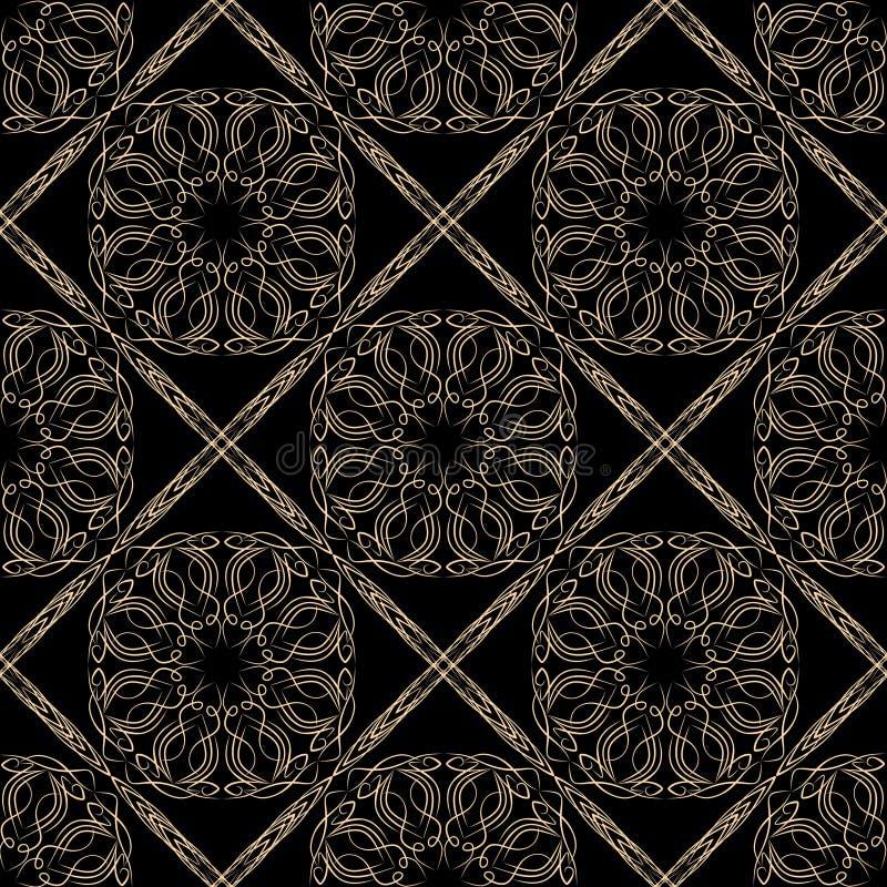 Χρυσά άνευ ραφής διακοσμητικά filigree σχέδια δαντελλών, μαύρο σχέδιο καλλιγραφίας στο κλασικό βικτοριανό ύφος Λεπτό εκλεκτής ποι διανυσματική απεικόνιση