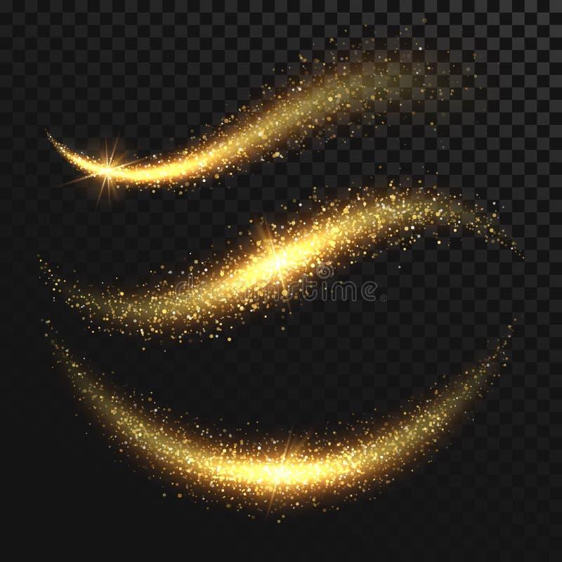 Χρυσά ακτινοβολώντας μαγικά διανυσματικά κύματα αισθήσεων μαγείας σπινθηρίσματος με τα χρυσά μόρια που απομονώνονται διανυσματική απεικόνιση