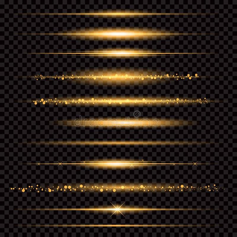 Χρυσά ακτινοβολώντας λαμπιρίζοντας μόρια ιχνών σκόνης αστεριών στο διαφανές υπόβαθρο Διαστημική ουρά κομητών Διανυσματική μόδα γο απεικόνιση αποθεμάτων