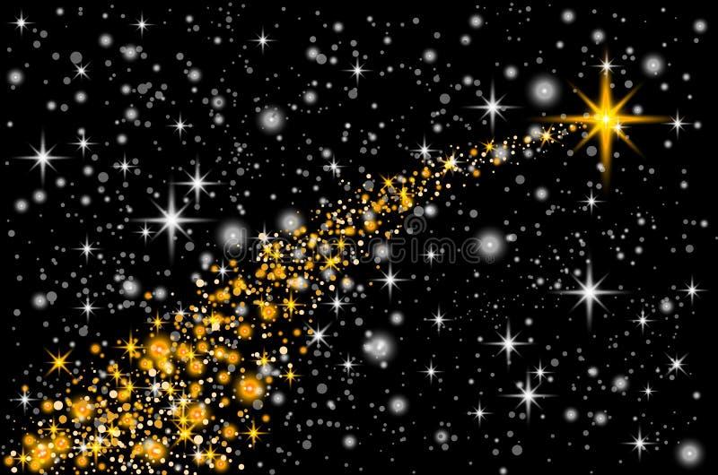 Χρυσά ακτινοβολώντας λαμπιρίζοντας μόρια ιχνών σκόνης αστεριών στο διαφανές υπόβαθρο Διαστημική ουρά κομητών Διανυσματικό illustr ελεύθερη απεικόνιση δικαιώματος