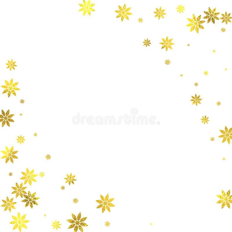 Χρυσά ακτινοβολώντας λουλούδια φύλλων αλουμινίου στο άσπρο υπόβαθρο διανυσματική απεικόνιση
