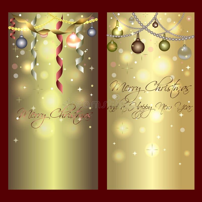 Χρυσά λαμπρά εμβλήματα για τα Χριστούγεννα και το νέο έτος διανυσματική απεικόνιση