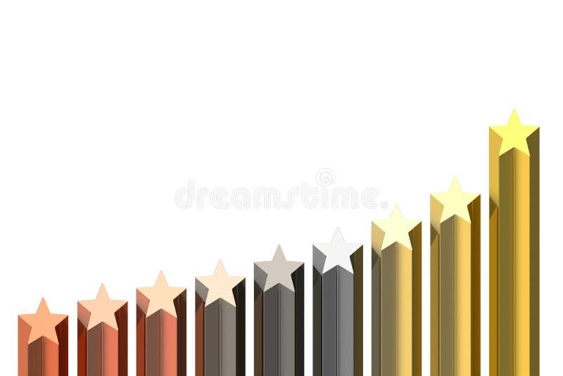 χρυσά αστέρια διαγραμμάτω&nu διανυσματική απεικόνιση