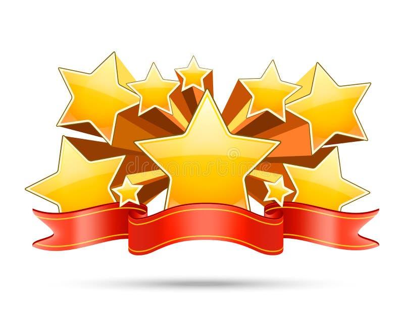 Χρυσά αστέρια με το κόκκινο διάστημα κορδελλών για το κείμενό σας ελεύθερη απεικόνιση δικαιώματος