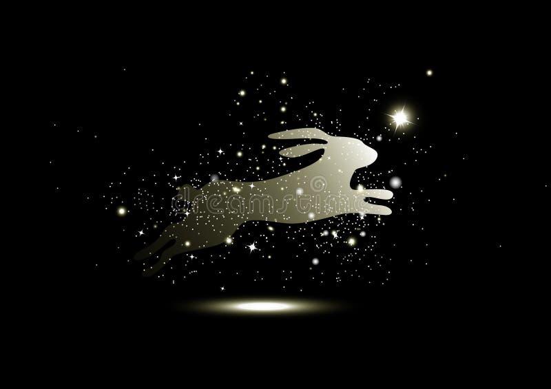 Χρυσά αστέρια που καίγονται, θαύμα φαντασίας κουνελιών, σπινθήρισμα, πολυτέλεια φυλάκων ζώων, εποχιακές διακοπές υποβάθρου Χριστο διανυσματική απεικόνιση