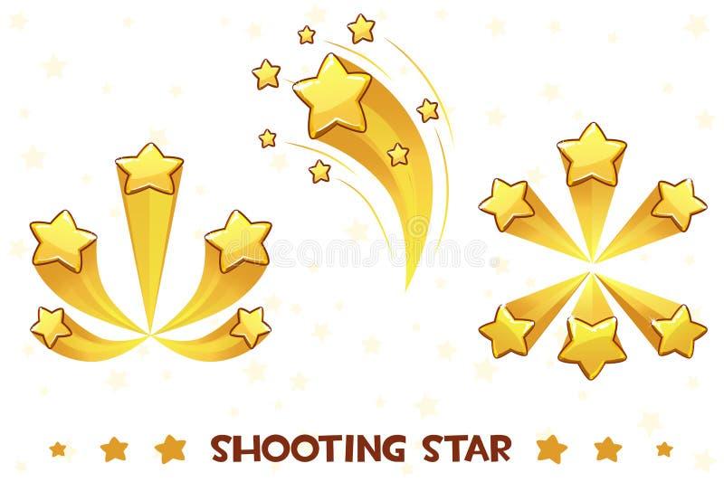 Χρυσά αστέρια πυροβολισμού κινούμενων σχεδίων διαφορετικά απεικόνιση αποθεμάτων