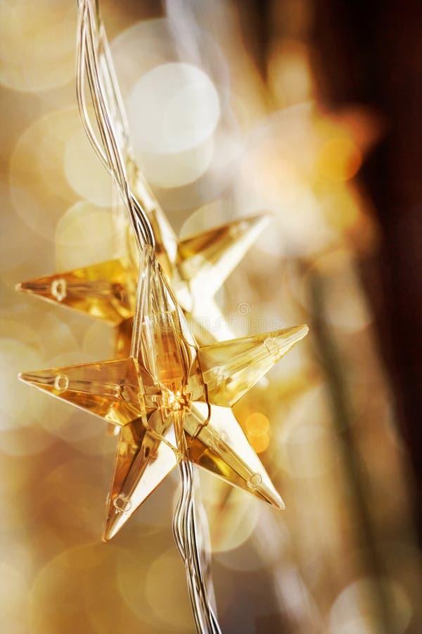 Χρυσά αστέρια Χριστουγέννων στοκ φωτογραφίες με δικαίωμα ελεύθερης χρήσης