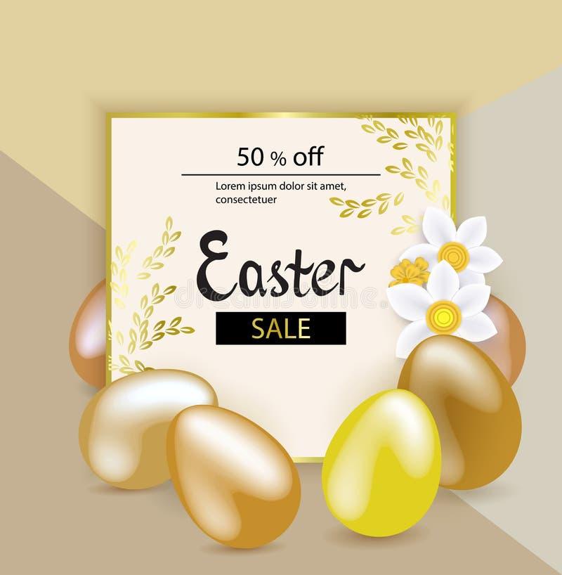 Χρυσά αυγά Πάσχας, άσπρα snowdrops στο μπεζ υπόβαθρο πορφυρά αστέρια γραμμών Πάσχας καρτών ανασκόπησης φωτεινά απεικόνιση αποθεμάτων