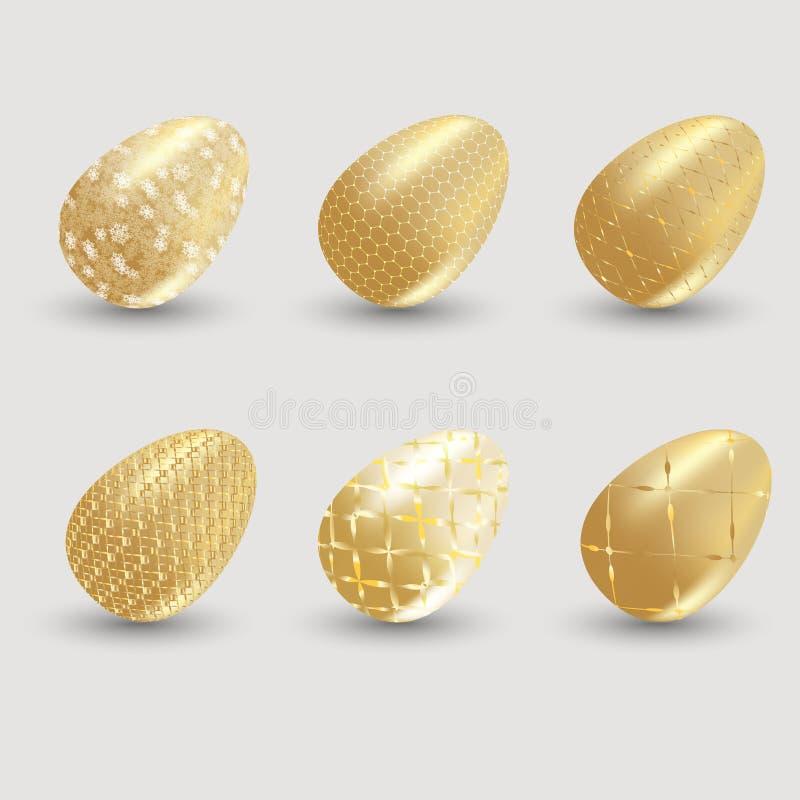 Χρυσά αυγά Πάσχας με τη σκιά στο γκρίζο υπόβαθρο διανυσματική απεικόνιση