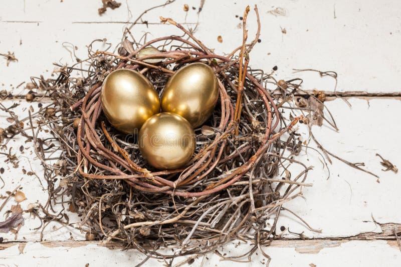 Χρυσά αυγά στη φωλιά στοκ φωτογραφίες