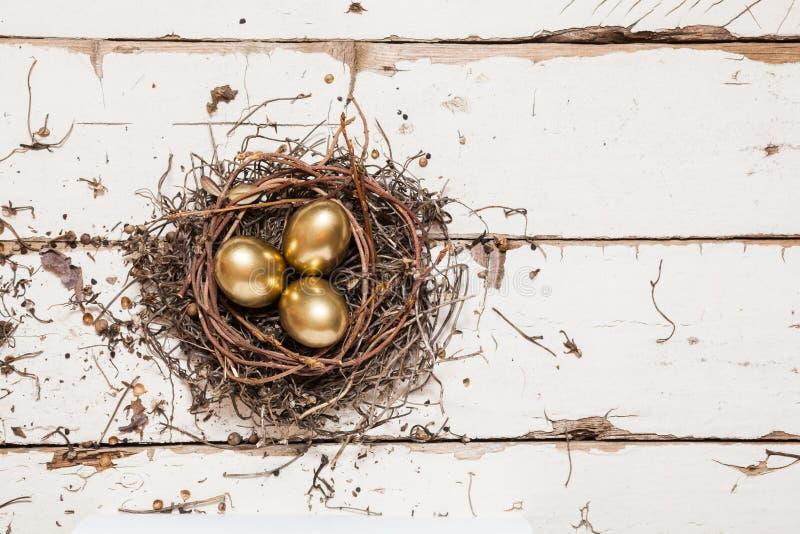 Χρυσά αυγά στη φωλιά στοκ εικόνες με δικαίωμα ελεύθερης χρήσης
