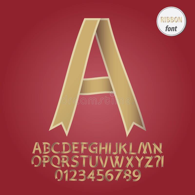 Χρυσά αλφάβητο κορδελλών και διάνυσμα ψηφίων ελεύθερη απεικόνιση δικαιώματος