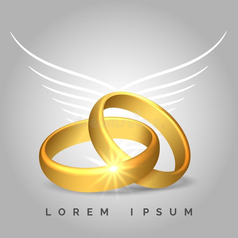 Χρυσά γαμήλια δαχτυλίδια με τα φτερά αγγέλου ελεύθερη απεικόνιση δικαιώματος