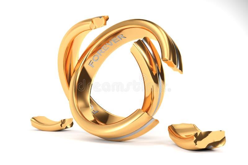 Χρυσά γαμήλια δαχτυλίδια που συμβολίζουν το διαζύγιο μεταξύ δύο ανθρώπων διανυσματική απεικόνιση