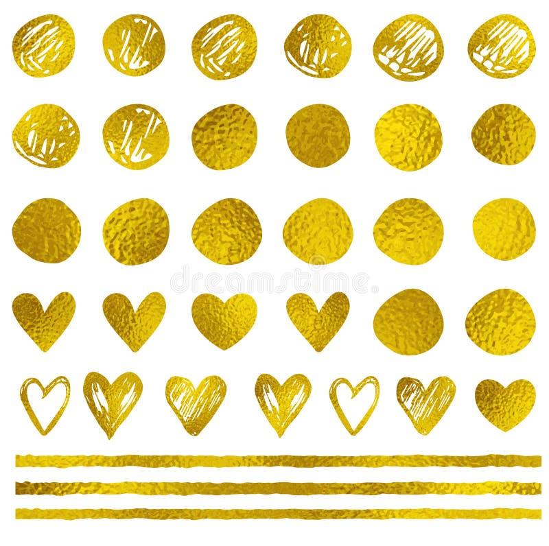 Χρυσά διακοσμητικά διανυσματικά στοιχεία σχεδίου σε ένα άσπρο υπόβαθρο απεικόνιση αποθεμάτων