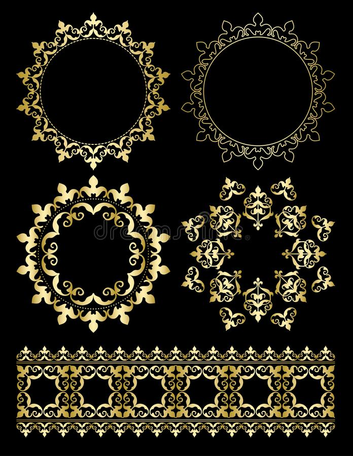Χρυσά διακοσμητικά στοιχεία σχεδίου - διανυσματικές διακοσμήσεις και στρογγυλά πλαίσια ελεύθερη απεικόνιση δικαιώματος