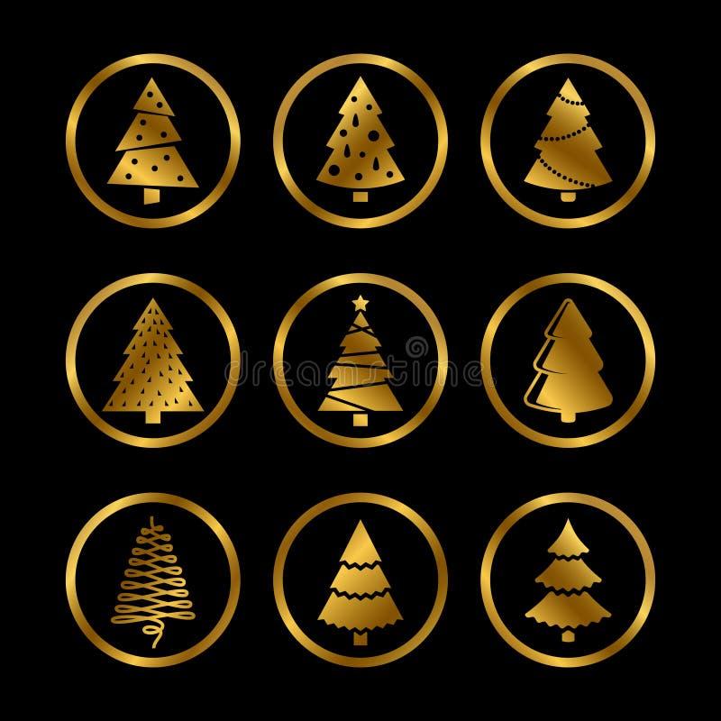 Χρυσά διανυσματικά εικονίδια χριστουγεννιάτικων δέντρων σκιαγραφιών στο μαύρο υπόβαθρο διανυσματική απεικόνιση
