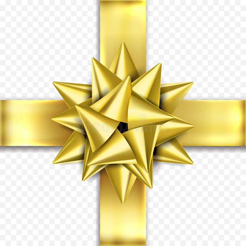 Χρυσά δώρων τόξων γενέθλια προτύπων σχεδίου κορδελλών διανυσματικά, νέα δώρα Χριστουγέννων έτους διανυσματική απεικόνιση