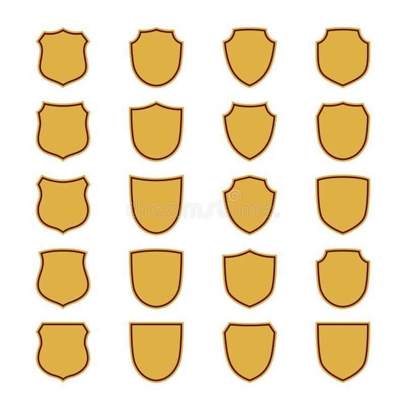 Χρυσά εικονίδια μορφής ασπίδων καθορισμένα Απλό επίπεδο λογότυπο στο άσπρο υπόβαθρο Σύμβολο της ασφάλειας, προστασία, ασφάλεια, ι ελεύθερη απεικόνιση δικαιώματος