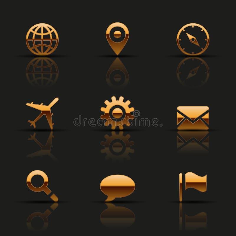 Χρυσά εικονίδια Ιστού καθορισμένα διανυσματική απεικόνιση