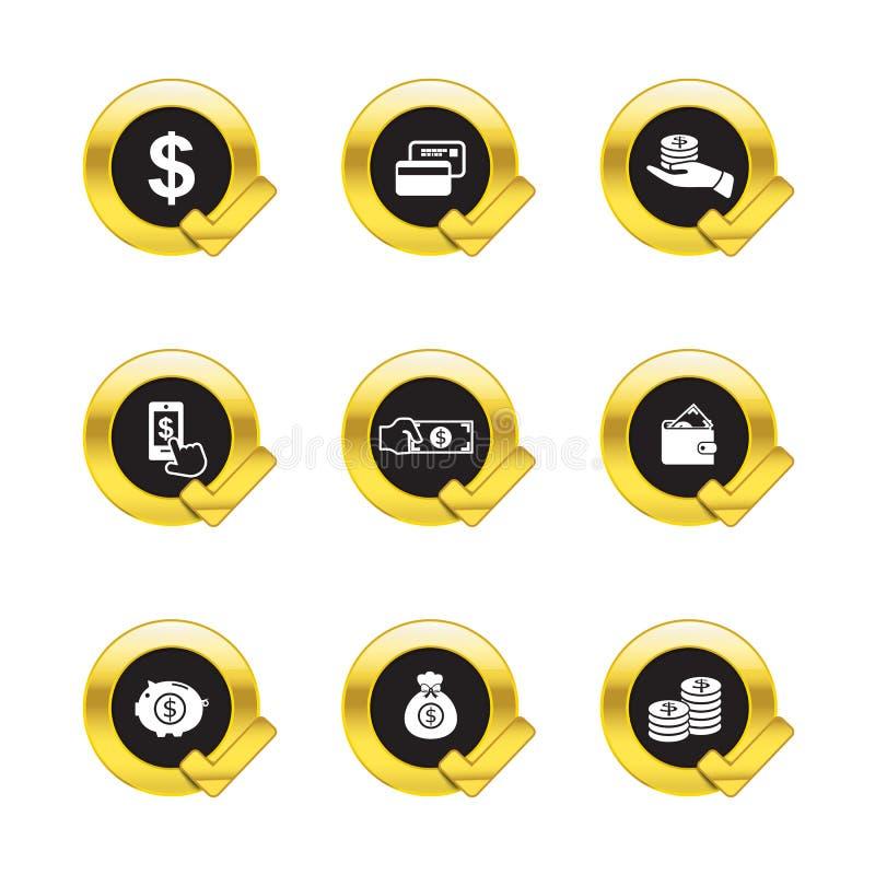 Χρυσά εικονίδια σημαδιών κύκλων και ελέγχου στο λευκό ελεύθερη απεικόνιση δικαιώματος