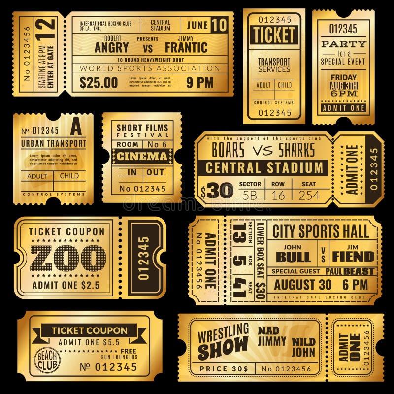 Χρυσά εισιτήρια Παλαιό χρυσό VIP εισιτήριο αποδοχής του τσίρκου, της δεξίωσης γάμου και του κινηματογράφου, συναυλία θεάτρων Ασφά απεικόνιση αποθεμάτων
