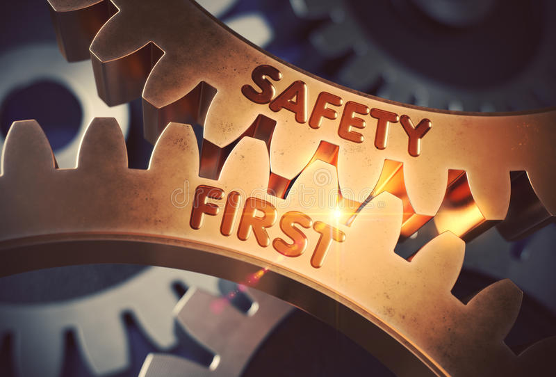 Χρυσά εργαλεία με την έννοια ασφάλειας πρώτα τρισδιάστατη απεικόνιση διανυσματική απεικόνιση