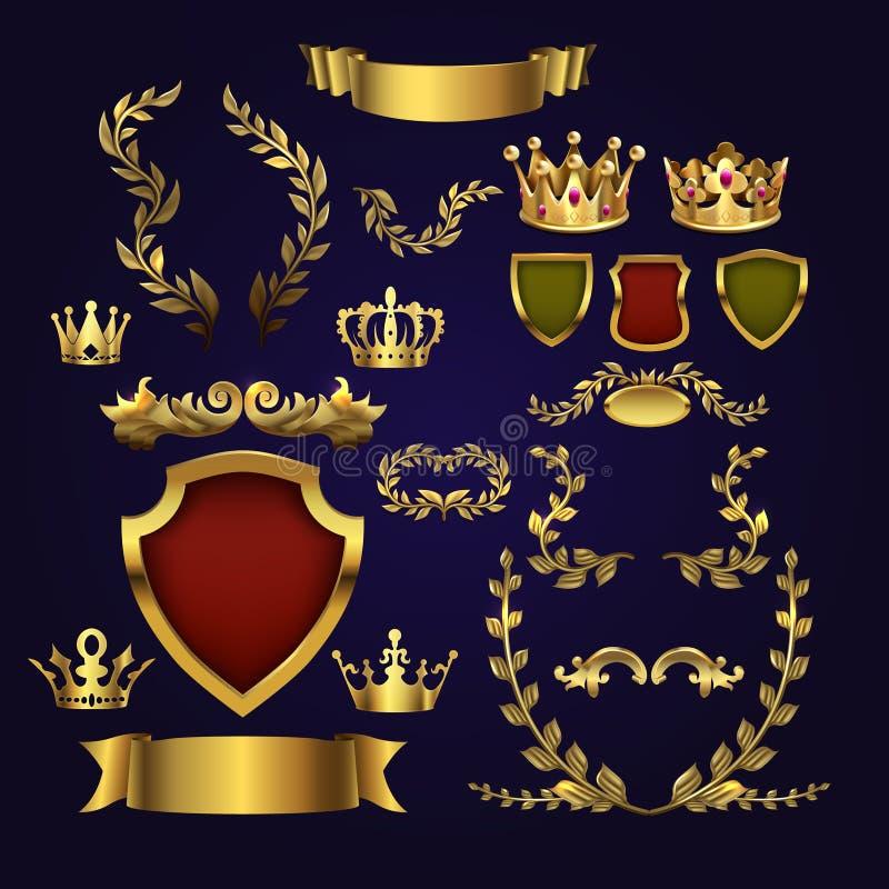 Χρυσά διανυσματικά εραλδικά στοιχεία Κορώνες βασιλιάδων, στεφάνι δαφνών και βασιλική ασπίδα για τις τρισδιάστατα ετικέτες και τα  ελεύθερη απεικόνιση δικαιώματος