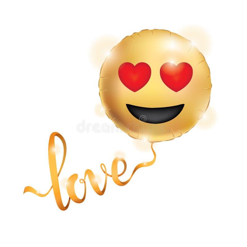 Χρυσά κίτρινα μπαλόνια χαμόγελου διανυσματική απεικόνιση