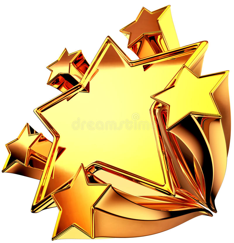 χρυσά καθορισμένα λαμπρά έξι αστέρια κινήσεων διανυσματική απεικόνιση