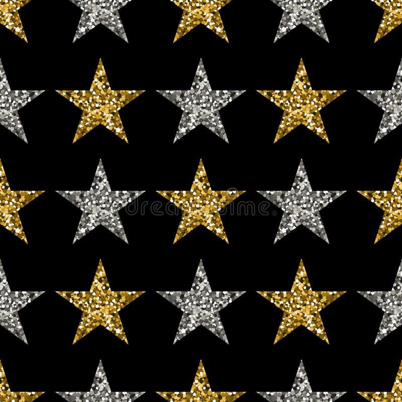 Χρυσά και ασημένια αστέρια στο μαύρο υπόβαθρο διανυσματική απεικόνιση