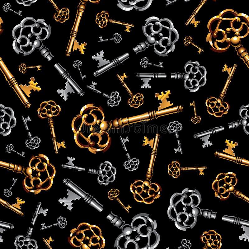 Χρυσά και ασημένια εκλεκτής ποιότητας κλειδιά στο μαύρο υπόβαθρο ελεύθερη απεικόνιση δικαιώματος