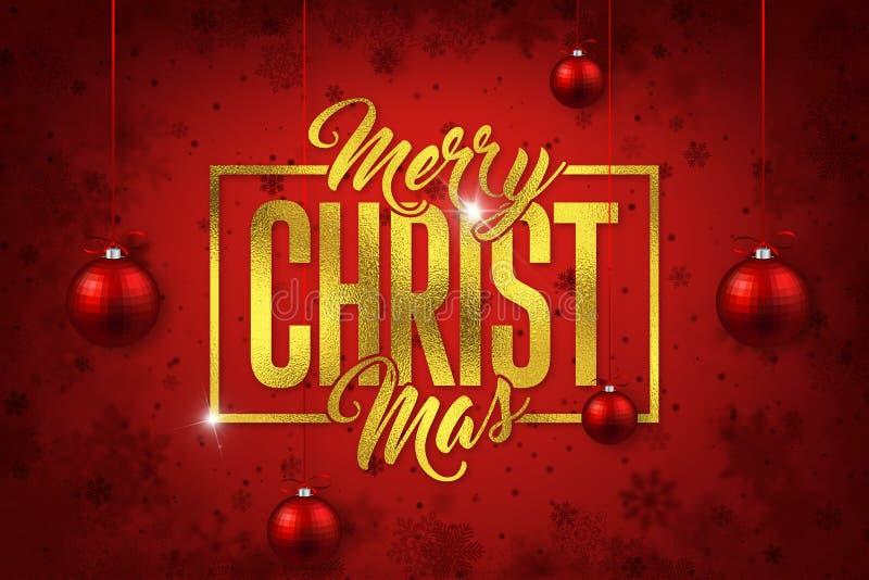 Χρυσά Καλά Χριστούγεννα σε κόκκινο φόντο στοκ εικόνες
