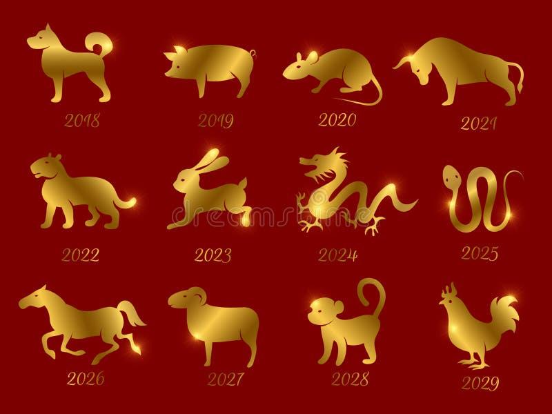 Χρυσά κινεζικά zodiac ωροσκοπίων ζώα Διανυσματικά σύμβολα του έτους που απομονώνεται στο κόκκινο σκηνικό ελεύθερη απεικόνιση δικαιώματος