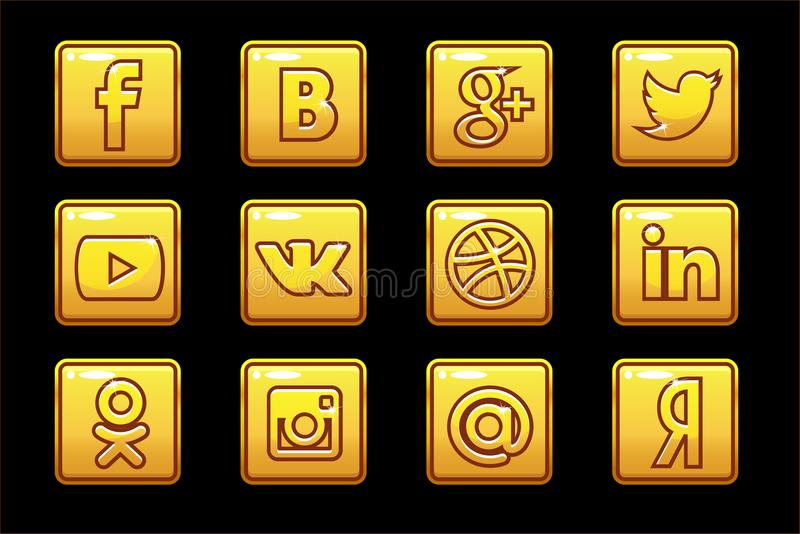 Χρυσά κοινωνικά μέσα εικονιδίων κουμπιά που τίθενται τετ& απεικόνιση αποθεμάτων