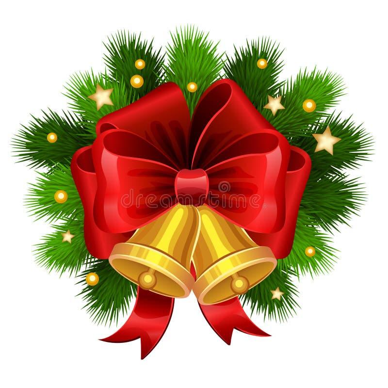 Χρυσά κουδούνια Χριστουγέννων με τους κόκκινους κλάδους τόξων και έλατου διάνυσμα ελεύθερη απεικόνιση δικαιώματος