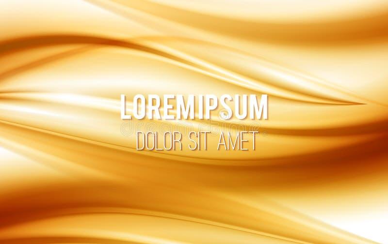 χρυσά κύματα μεταξιού σατέν απεικόνισης ανασκόπησης κίτρινα Κίτρινο υπόβαθρο, διανυσματική απεικόνιση ελεύθερη απεικόνιση δικαιώματος