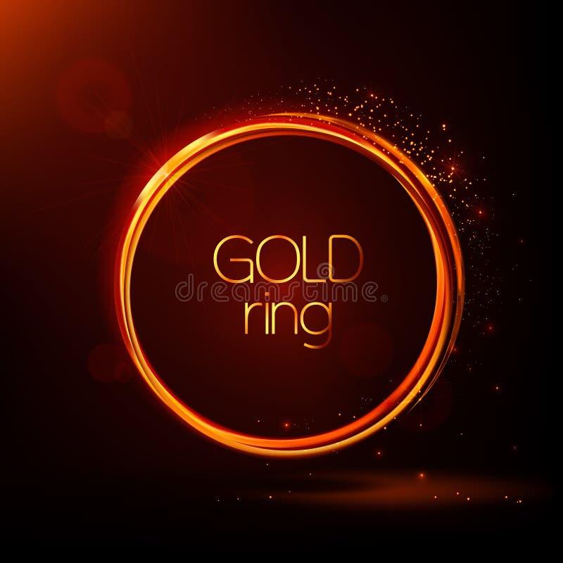 Χρυσά λαμπρά δαχτυλίδια Αφηρημένο διανυσματικό έμβλημα Ελαφριά αποτελέσματα, μόρια, έντονο φως και αντανακλάσεις Καμμένος αστρική διανυσματική απεικόνιση