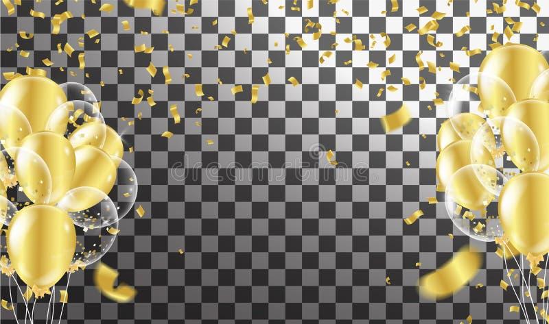 Χρυσά μπαλόνια και αφηρημένο κόμμα υποβάθρου κομμάτων κομφετί celeb διανυσματική απεικόνιση