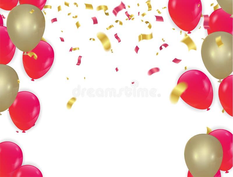 Χρυσά μπαλόνια και κόκκινο ευτυχές κινεζικό νέο έτος, σεληνιακό νέο έτος ελεύθερη απεικόνιση δικαιώματος