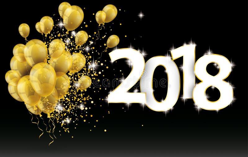 Χρυσά μπαλόνια 2018 μαύρου μόρια υποβάθρου κομφετί ελεύθερη απεικόνιση δικαιώματος