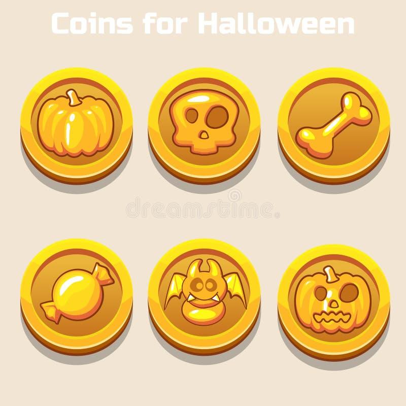 Χρυσά νομίσματα για αποκριές ελεύθερη απεικόνιση δικαιώματος