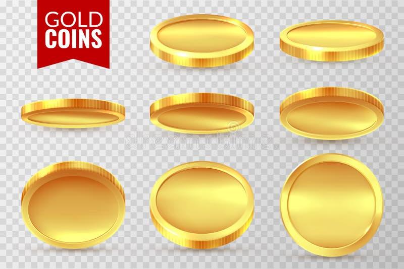 Χρυσά νομίσματα καθορισμένα Ρεαλιστικό χρυσό νόμισμα, σύμβολα πληρωμής χρηματοδότησης μετρητών χρημάτων Απομονωμένο δολάριο διάνυ απεικόνιση αποθεμάτων