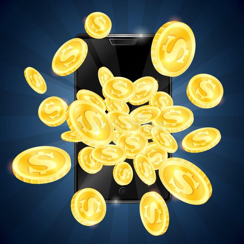 Χρυσά νομίσματα και κινητό τηλεφωνικό παιχνίδι ελεύθερη απεικόνιση δικαιώματος