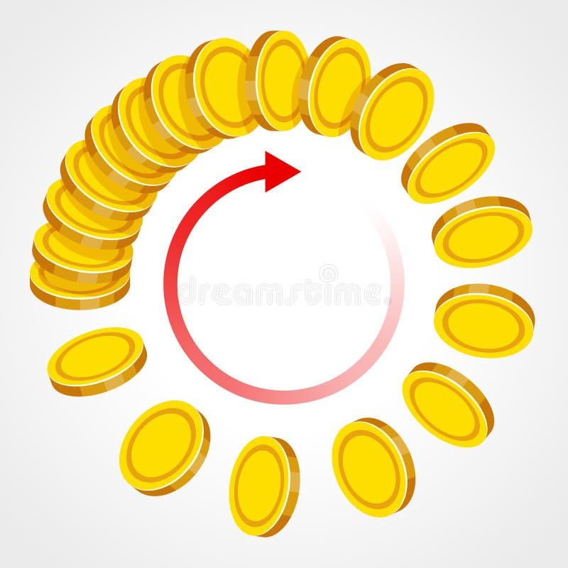 Χρυσά νομίσματα και κόκκινο βέλος απεικόνιση αποθεμάτων